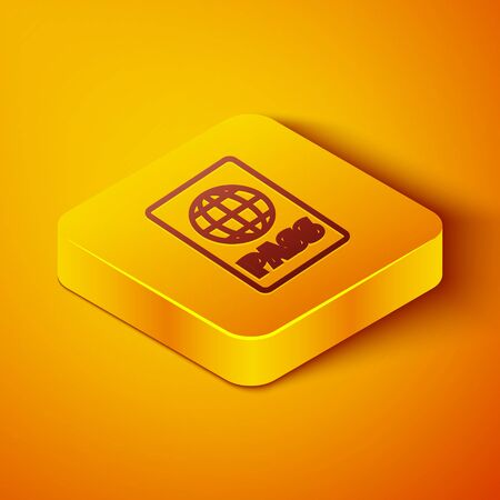 Isometric line Passport with biometric data icon isolated on orange background. Identification Document. Yellow square button. Vector Illustration Foto de archivo - 142143602