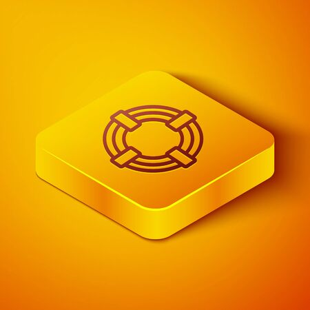 Isometric line Lifebuoy icon isolated on orange background. Life saving floating lifebuoy for beach, rescue belt for saving people. Yellow square button. Vector Illustration