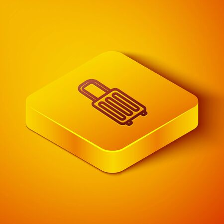 Isometric line Suitcase for travel icon isolated on orange background. Traveling baggage sign. Travel luggage icon. Yellow square button. Vector Illustration Ilustracja
