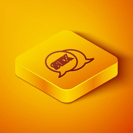 Isometric line Speech bubble with text Sex icon isolated on orange background. Adults content only icon. Yellow square button. Vector Illustration