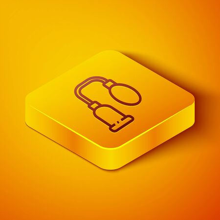 Isometric line Penis pump icon isolated on orange background. Penis enlarger. Sex toy for men. Vacuum pump with a blower to increase the penis. Yellow square button. Vector Illustration