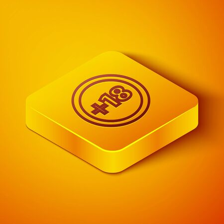 Isometric line Plus 18 movie icon isolated on orange background. Adult content. Under 18 years sign. Yellow square button. Vector Illustration