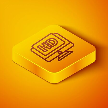Isometric line Computer PC monitor display with HD video technology icon isolated on orange background. Yellow square button. Vector Illustration