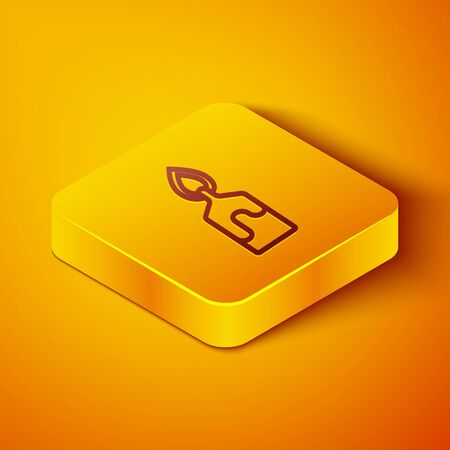Isometric line Burning candle icon isolated on orange background. Cylindrical candle stick with burning flame. Yellow square button. Vector Illustration