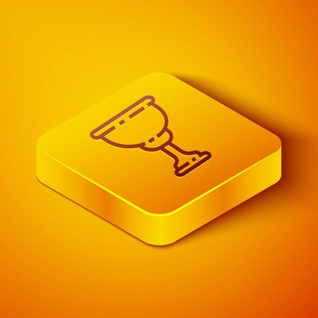 Isometric line Christian chalice icon isolated on orange background. Christianity icon. Happy Easter. Yellow square button. Vector Illustration Vectores