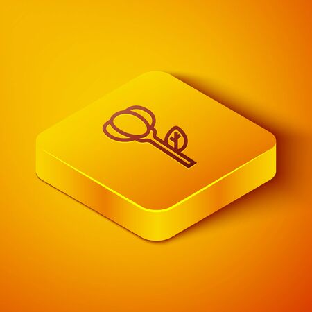 Isometric line Flower tulip icon isolated on orange background. Yellow square button. Vector Illustration