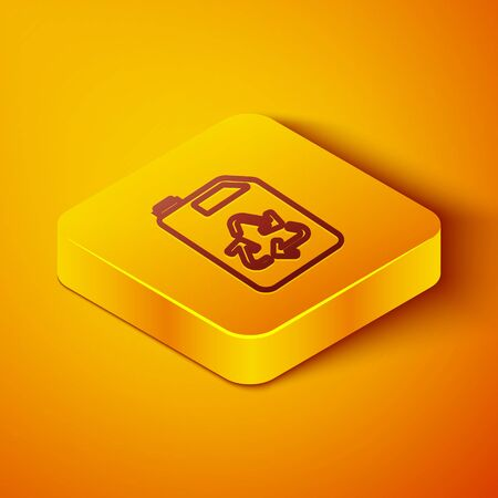 Isometric line Eco fuel canister icon isolated on orange background. Eco bio and barrel. Green environment and recycle. Yellow square button. Vector Illustration Vectores