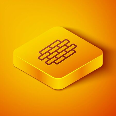 Isometric line Bricks icon isolated on orange background. Yellow square button. Vector Illustration