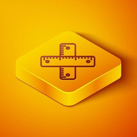 Isometric line Crossed ruler icon isolated on orange background. Straightedge symbol. Yellow square button. Vector Illustration