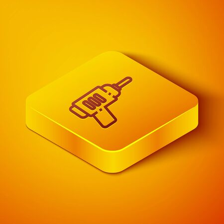 Isometric line Electric drill machine icon isolated on orange background. Repair tool. Yellow square button. Vector Illustration