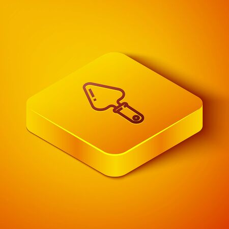 Isometric line Trowel icon isolated on orange background. Yellow square button. Vector Illustration Ilustração