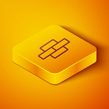 Isometric line Bricks icon isolated on orange background. Yellow square button. Vector Illustration Ilustração
