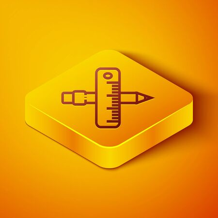 Isometric line Crossed ruler and pencil icon isolated on orange background. Straightedge symbol. Drawing and educational tools. Yellow square button. Vector Illustration
