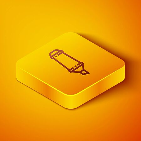 Isometric line Marker pen icon isolated on orange background. Yellow square button. Vector Illustration
