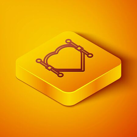 Isometric line Heart with Bezier curve icon isolated on orange background. Pen tool icon. Yellow square button. Vector Illustration