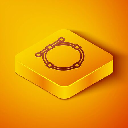 Isometric line Circle banner with Bezier curve icon isolated on orange background. Pen tool icon. Yellow square button. Vector Illustration