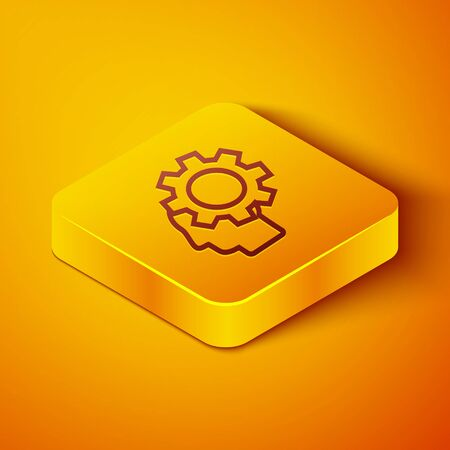 Isometric line Human head with gear inside icon isolated on orange background. Artificial intelligence. Thinking brain. Symbol work of brain. Yellow square button. Vector Illustration Zdjęcie Seryjne - 142144783