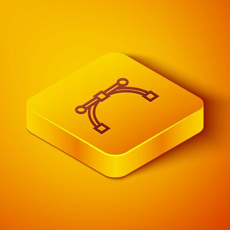 Isometric line Bezier curve icon isolated on orange background. Pen tool icon. Yellow square button. Vector Illustration Çizim