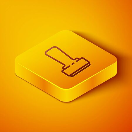 Isometric line Stamp icon isolated on orange background. Yellow square button. Vector Illustration Stockfoto - 142144776