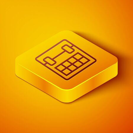 Isometric line Calendar icon isolated on orange background. Event reminder symbol. Yellow square button. Vector Illustration 向量圖像