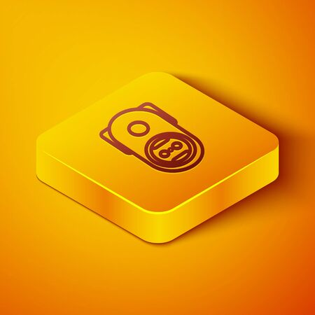 Isometric line Electrical outlet icon isolated on orange background. Power socket. Rosette symbol. Yellow square button. Vector Illustration