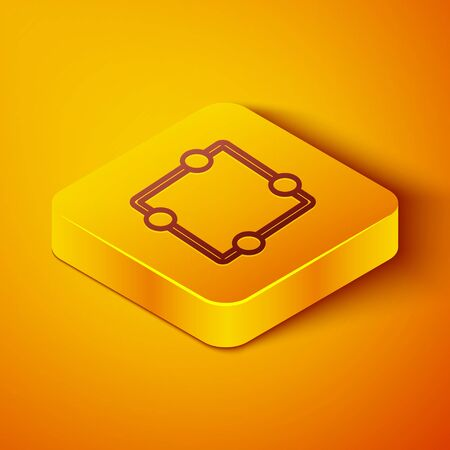 Isometric line Electric circuit scheme icon isolated on orange background. Circuit board. Yellow square button. Vector Illustration