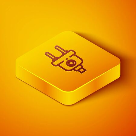 Isometric line Electric plug icon isolated on orange background. Concept of connection and disconnection of the electricity. Yellow square button. Vector Illustration