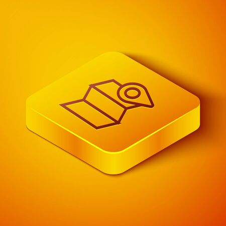 Isometric line Folded map with location marker icon isolated on orange background. Yellow square button. Vector Illustration