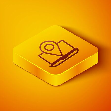 Isometric line Laptop with location marker icon isolated on orange background. Yellow square button. Vector Illustration