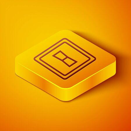 Isometric line Electric light switch icon isolated on orange background. On and Off icon. Dimmer light switch sign. Concept of energy saving. Yellow square button. Vector Illustration