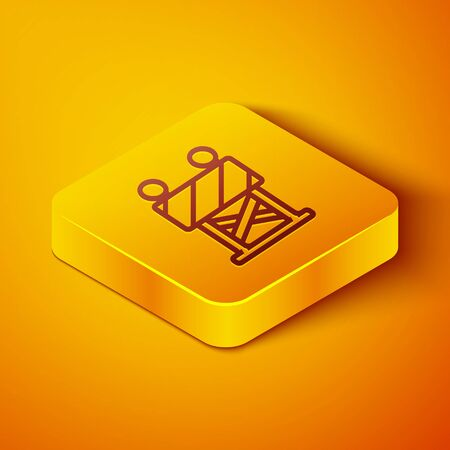 Isometric line Road barrier icon isolated on orange background. Symbol of restricted area which are in under construction processes. Repair works. Yellow square button. Vector Illustration