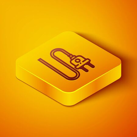 Isometric line Electric plug icon isolated on orange background. Concept of connection and disconnection of the electricity. Yellow square button. Vector Illustration 일러스트