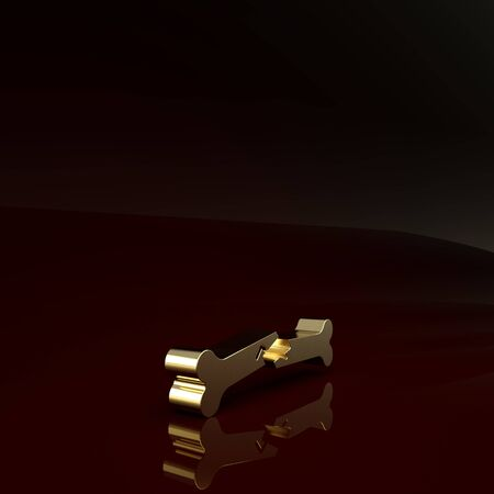 Gold Human broken bone icon isolated on brown background. Minimalism concept. 3d illustration 3D render