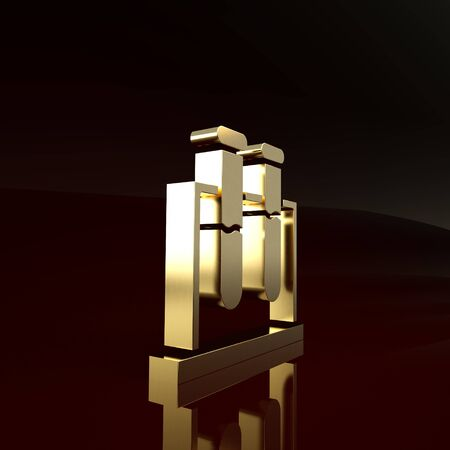 Gold Test tube and flask chemical laboratory test icon isolated on brown background. Laboratory glassware sign. Minimalism concept. 3d illustration 3D render