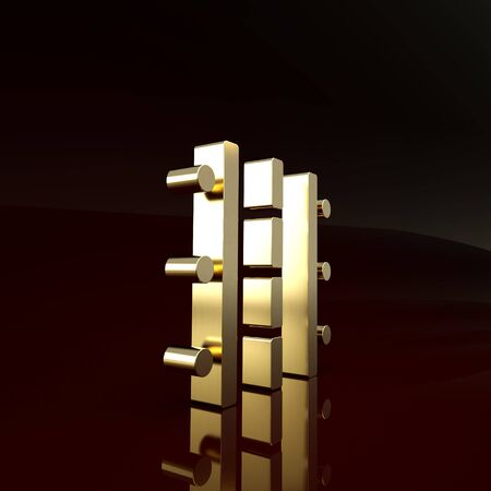 Gold Airport runway for taking off and landing aircrafts icon isolated on brown background. Minimalism concept. 3d illustration 3D render