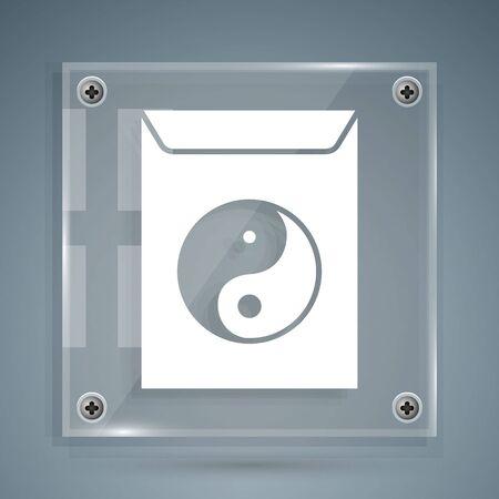 White Yin Yang and envelope icon isolated on grey background. Symbol of harmony and balance. Square glass panels. Vector Illustration