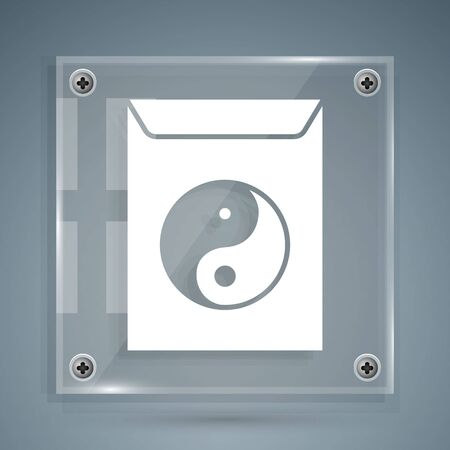 White Yin Yang and envelope icon isolated on grey background. Symbol of harmony and balance. Square glass panels. Vector Illustration