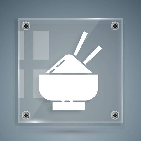 White Rice in a bowl with chopstick icon isolated on grey background. Traditional Asian food. Square glass panels. Vector Illustration
