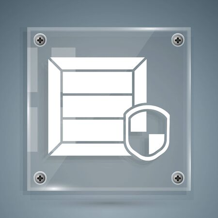 White Delivery pack security with shield icon isolated on grey background. Delivery insurance. Insured cardboard boxes beyond the shield. Square glass panels. Vector Illustration
