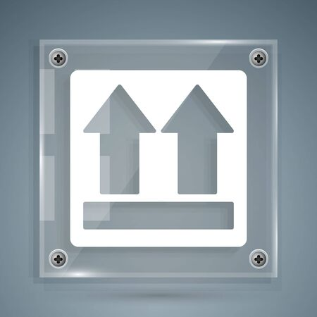 White This side up icon isolated on grey background. Two arrows indicating top side of packaging. Cargo handled. Square glass panels. Vector Illustration