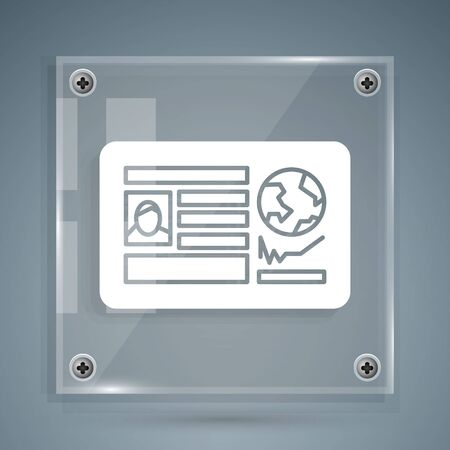 White Passport with visa stamp icon isolated on grey background. Identification Document. Square glass panels. Vector Illustration Foto de archivo - 142258736