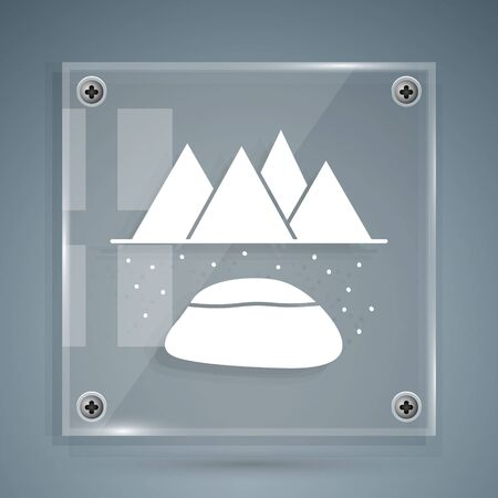 White Oilfield icon isolated on grey background. Natural resources, oil and gas production. Square glass panels. Vector Illustration