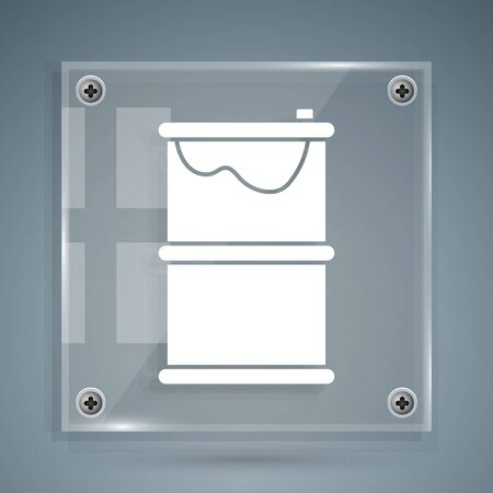 White Barrel oil leak icon isolated on grey background. Square glass panels. Vector Illustration