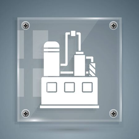White Oil and gas industrial factory building icon isolated on grey background. Square glass panels. Vector Illustration