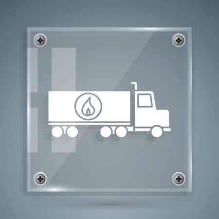 White Tanker truck icon isolated on grey background. Petroleum tanker, petrol truck, cistern, oil trailer. Square glass panels. Vector Illustration