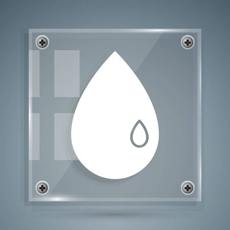 White Oil drop icon isolated on grey background. Square glass panels. Vector Illustration 向量圖像