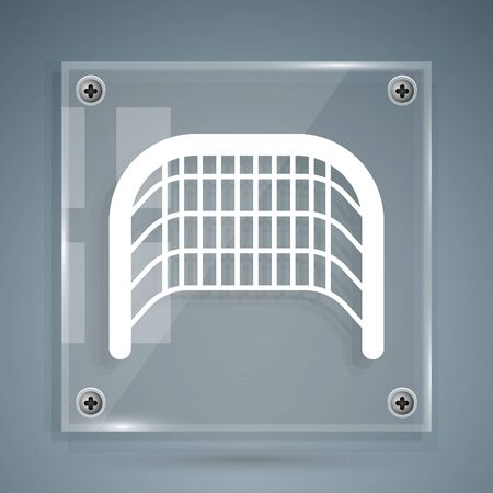 White Ice hockey goal with net for goalkeeper icon isolated on grey background. Square glass panels. Vector Illustration