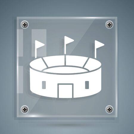 White Hockey stadium icon isolated on grey background. Hockey arena. Square glass panels. Vector Illustration