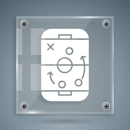 White Planning strategy concept icon isolated on grey background. Hockey cup formation and tactic. Square glass panels. Vector Illustration Ilustração