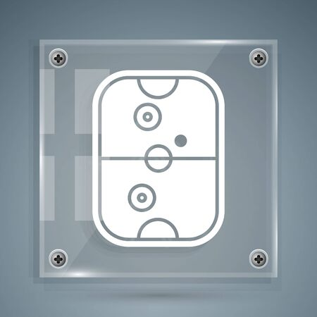 White Air hockey table icon isolated on grey background. Square glass panels. Vector Illustration